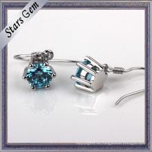 Pendiente sintético azul suizo redondo de la moda del diamante de 3-8m m