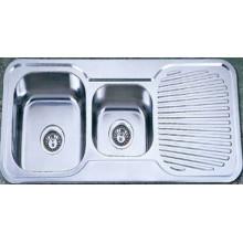 Drain Board Doubel Bowl нержавеющей стали Кухонная мойка (Kid10848)