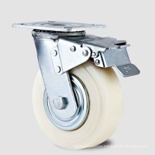 Heavy Duty Type New Double Pedal Brake White PP Wheel Caster (KHX3-H8-A)