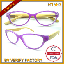R1593 Moda mujer estilo bambú templos gafas de lectura decorado con diamantes de imitación
