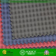 Tissu de polyester de Spandex de trame avec Dobby de plaids pour la veste de mode