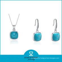 Square 925 Sterling Silver Jewelry Set with Low MOQ (J-0033)