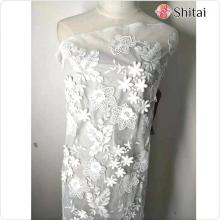 3D embroidery flower mesh fabric