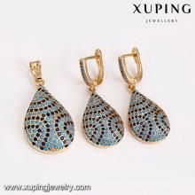 64198 Xuping spezielle populäre türkische stil zarte dunkelblau zirkon stein kupferlegierung schmuck sets