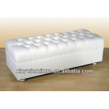 Modern Hotel Living Room Ottoman in White Faux Leather XY0306
