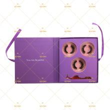 3 Pairs Lash Bundle Tweezers Purple Magnetic Closure Gift Box Ribbon Bowknot Own Logo Packaging For 5D Mink Lashes Lash Book