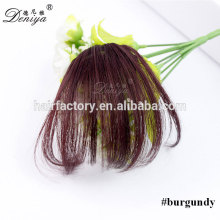Fancy color burgundy color thin clip in hair bang hot selling synthetic fringe