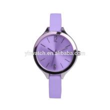 Ультра тонкие женские часы модные духи часы фиолетовый ремень