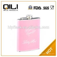 6 унций яркий розовый цвет блеск кожи из нержавеющей стали Фляга для женщины