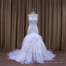 F88422 strapless wedding dress beaded lace pleated organza mermaid bridal dress