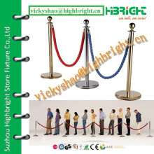 stainless steel crowd control rail with velvet rope