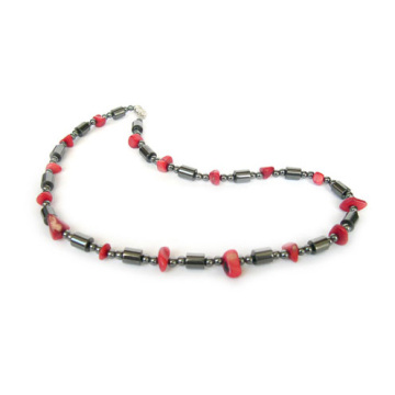 Red Coral Hematite Gemstone Necklace