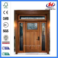 Jhk-G16-2 Pine Wood Door 3 Panel 1 Lite Cordova Glass Door