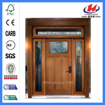 Jhk-G16-3 Double Swing Interior Wood Doors 3 Panel 1 Lite With Block Brushed Nickel Glass Solid Core Door