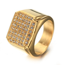 Fashion custom silver square diamond ring