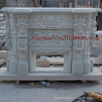 Белый мраморный камин для внутреннего оформления (SY-MF001)