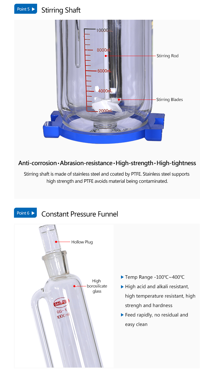 Factory Direct Sale Lab Cylindrical Jacketed Glass Reactor