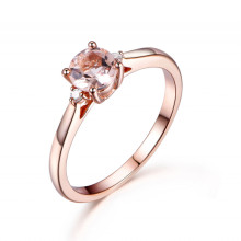 5mm Round Cut Morganite and Diamond Engagement Ring 14k Rose gold Three Stone Design