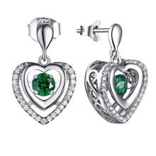 Gemstone Jewelry Dangle Earring 925 Silver Dancing Diamond