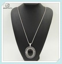 Hotsale Silver Long Thin Chain Big Black Plastic Bead Circle Pendant Necklace
