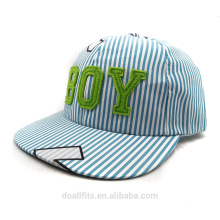Blue stripe with boy logo prix bon marché pour chilren cap made in china for 2016