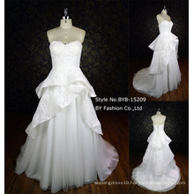 2016 elegant lace ball gown layered strapless wedding dress