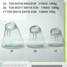 3000ml 1800ml 1200ml Frasco de armazenamento de vidro com tampa de vidro Clip Canister atacado