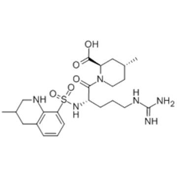 2-Piperidinecarboxylicacid,1-[(2S)-5-[(aminoiminomethyl)amino]-1-oxo-2-[[[(3R)-1,2,3,4-tetrahydro-3-methyl-8-quinolinyl]sulfonyl]amino]pentyl]-4-methyl-,( 57279051,2R,4R)- CAS 121785-71-5