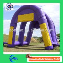 Color púrpura línea inflable welcom forma de arco