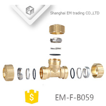 EM-F-B059 3 Ways Brass Spain Tee Compression Pex Pipe Fitting