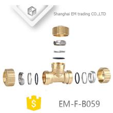 EM-F-B059 3 Maneiras Latão Espanha Tee Compressão Pex Encaixe De Tubulação