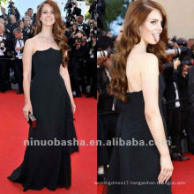 Lana Delrey Strapless Black A Line Brush Train Celebrity Dress Red Carpet Gown