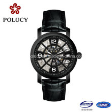 Made in China Men Watch Hollow Dial Leather Band Mechanical Wrist Watches