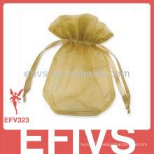 Yellow Drawstring Jewelry Organza Bags Wholesale