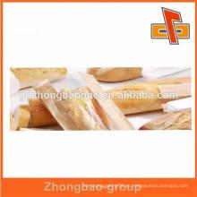 Bolsas de papel forradas de plástico con ventana transparente para baguette, pan francés, comida frita