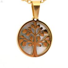 2018 nouvelle mode design arbre de vie forme ronde creux en acier inoxydable pendentifs bijoux vente chaude