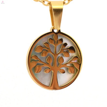 2018 new fashion design tree of life round shape hollow stainless steel pendants jewelry hot sale