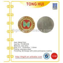 Moeda comemorativa de aço inoxidável, moeda de lembrança com epóxi