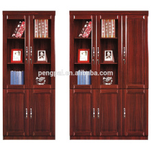 Customized dignified reddish brown office file credenza with glass