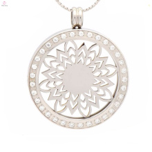 Round custom metal waterproof collar necklace charms light for couples