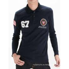 Impresión de manga larga con bordado Camiseta de algodón personalizado para hombre