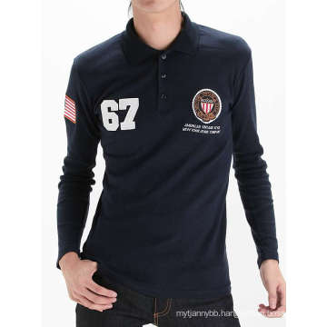 Long Sleeve Printing with Embroidery Custom Cotton Men Polo T-Shirt