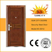 Puerta principal de hierro de acero con pintura de cobre (SC-S012)