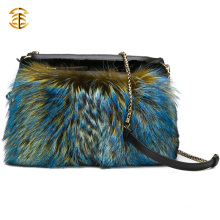 Classy Ladies Colorful Fox and Black Rabbit Fur Shoulder Bag