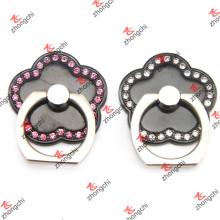 Цветочная форма черного цвета смартфон палец кольцо держатель Оптовая (SPH132)