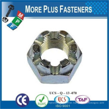 Made in Taiwan Brass Metric Hex Slotted Castle Nut