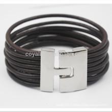 Bracelets en cuir à cordes tressées multicouches avec fermeture à crochet métallique