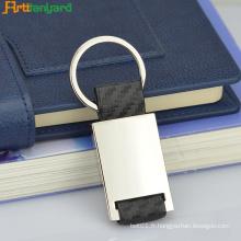 Porte-clés boucle en cuir avec métal plaqué