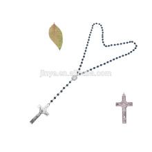 Handgemachte Strass Kreuz Achat Stein schwarz Perlen lange Kette Halskette