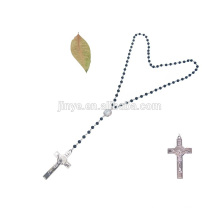 Handmade Black Agate Stone Beaded Long Cross Jesus Necklace